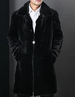 baratos Pêlo e Pele-Homens Longo Casaco Sólido Básico