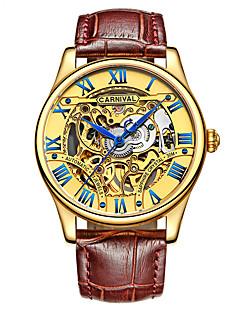 お買い得  有名ブランド腕時計-Carnival 男性 スケルトン腕時計 自動巻き 透かし加工 レザー バンド ビンテージ クール ブラウン