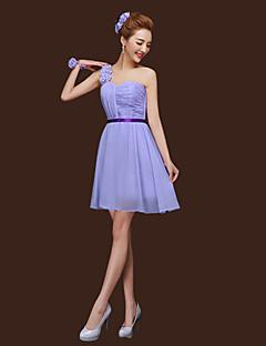 シース/コラムホルター1つの肩の恋人のストラップyayingで短いシフォンの花嫁介添人のドレス