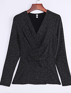 baratos Suéteres de Mulher-Mulheres Tamanhos Grandes Manga Longa Carregam - Sólido
