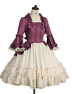 cheap Lolita Dresses-Sweet Lolita Dress Princess Women's One Piece Dress Cosplay Purple Poet Long Sleeves
