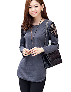 billige T-shirt-Dame - Ensfarvet Blonder Gade Plusstørrelser T-shirt
