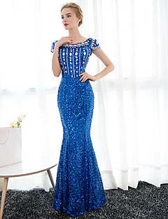 Mermaid / Trumpet Scoop Neck Floor Length Satin Sequined Formal Evening Dress with Crystal Detailing by Embroidered bridal