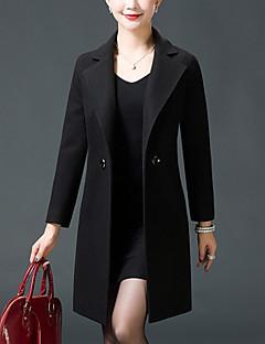 女性 プラスサイズ お出かけ 冬 ソリッド コート,シンプル ピークドラペル ブルー レッド ブラック イエロー ウール 長袖 厚手