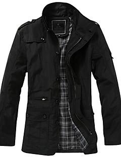 Erkek Orta Polyester Uzun Kollu Dik Yaka,Siyah Kahverengi Sonbahar Kış Solid Vintage Sade Büyük Beden-Erkek Trençkot