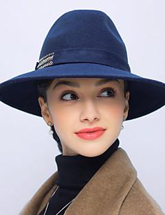 billige Hatter til damer-Dame Vintage Fritid Bøttehatt Ensfarget Ull