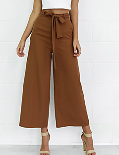 Mid Rise Micro-elastic Chinos Pants,Simple Street chic Wide Leg Pure Color Solid