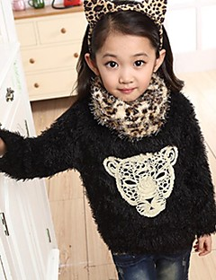 Girls' Daily Going out Patchwork Blouse,Cotton Winter Spring Fall Long Sleeve Cartoon Black Red