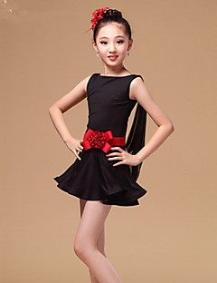 Shall We Latin Dance Dresses Children's Performance Tulle Milk Fiber Ruffles Sash/Ribbon 2 Pieces Sleeveless High Dress Waist Belt