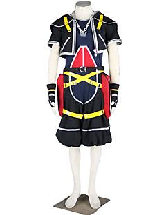 baratos Fantasias Anime-Inspirado por Kingdom Hearts Fantasias Anime Fantasias de Cosplay Ternos de Cosplay Sólido Casaco / Calças / Luvas Para Homens Trajes da Noite das Bruxas
