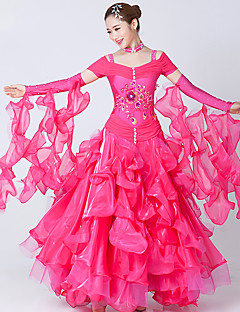 hesapli -Balo Dansı Elbiseler Kadın's Performans Splandeks Tül Nakış Kristaller / Yapay Elmaslar Ayrık Renkler Kısa Kol Elbise Neckwear