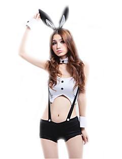 Cosplay Kostumer Party-kostyme Bunny Jenter karriere Kostymer Film-Cosplay Hvit Topp Bukser Hodeplagg Halloween Karneval Kvinnelig