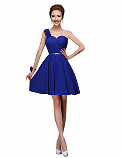 Sheath / Column Halter One Shoulder Sweetheart Straps Mini Chiffon Bridesmaid Dress with Ribbon by Yaying