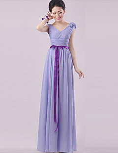cheap Long Bridesmaid Dresses-Sheath / Column Strapless Halter One Shoulder V-neck Sweetheart Straps Floor Length Chiffon Bridesmaid Dress with Flower(s) Sash / Ribbon