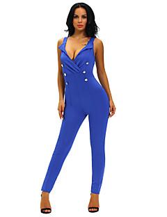 婦人向け シンプル ポリエステル / スパンデックス ジャンプスーツ,マイクロエラスティック 薄手 ノースリーブ