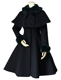 Winter Sweet Lolita Cape Coat Princess Lace Women's Coat Cosplay Black Long Sleeves