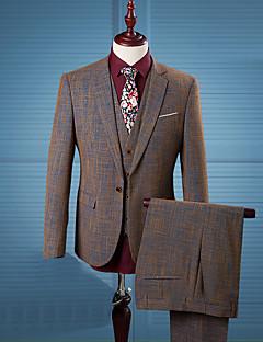 男性 カジュアル/普段着 ワーク オールシーズン スーツ,シンプル ストリートファッション ノッチドラペル プリント ブラウン コットン 長袖