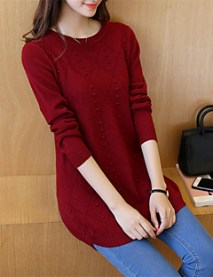 Women's Daily Casual Regular Pullover,Solid Round Neck Long Sleeves Cotton Acrylic Winter Fall Medium Inelastic