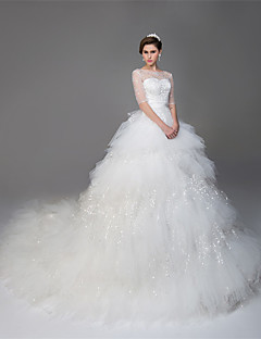 Ball Gown Illusion Neckline Cathedral Train Tulle Custom Wedding Dresses With Beading Sequin By Lan Ting Express