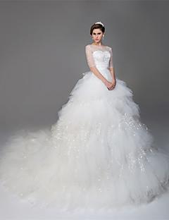 billiga Balbrudklänningar-Balklänning Illusion Halsband Katedralsläp Tyll Bröllopsklänningar tillverkade med Bård / Paljett av LAN TING Express / Genomskinliga