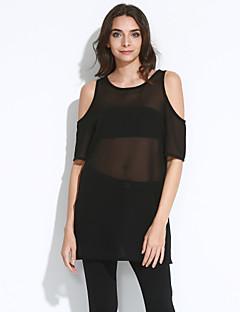Χαμηλού Κόστους Φορέματα Μεγάλα Μεγέθη-Γυναικείο Καθημερινά Μεγάλα Μεγέθη Απλό Κομψό στυλ street Φαρδιά Φόρεμα,Μονόχρωμο Κοντομάνικο Στρογγυλή Λαιμόκοψη Μίνι Πολυεστέρας