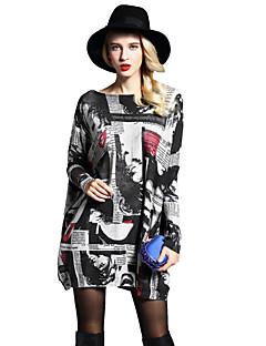 Χαμηλού Κόστους Sweater Dresses-Γυναικεία Αργίες / Παραλία Μανίκι Νυχτερίδα Φαρδιά Φόρεμα Στάμπα Πάνω από το Γόνατο Ψηλοκάβαλο Χαμόγελο / Άνοιξη / Φθινόπωρο