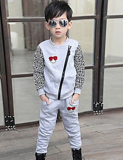 Boys' Daily Going out Patchwork Clothing Set,Cotton Winter Spring Fall Long Sleeve Animal Print Black Gray