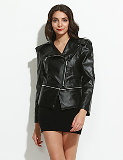 Women's Plus Size / Going out / Casual/Daily Casual Spring / Fall Leather JacketsSolid Shirt Collar Long Sleeve