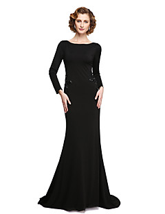 Sheath / Column Bateau Neck Floor Length Jersey Mother of the Bride Dress with Beading Appliques by LAN TING BRIDE®