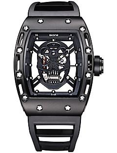 billige Høj kvalitet-SKONE Herre Quartz Unik Creative Watch Armbåndsur Skeletur Sportsur Vandafvisende Selvlysende Silikone Bånd Luksus Vintage Kranium Mode