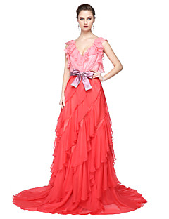 cheap Celebrity Dresses-Ball Gown V-neck Floor Length Chiffon Formal Evening Dress with Bow(s) Sash / Ribbon Cascading Ruffles Pleats by TS Couture®