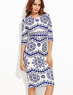 Χαμηλού Κόστους Chinoiserie Dresses-Γυναικεία Πάρτι / Εξόδου Κομψό στυλ street Εφαρμοστό Φόρεμα Στάμπα Ως το Γόνατο