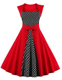 billige Vintage-dronning-Dame Plusstørrelser I-byen-tøj Vintage Bomuld A-linje Kjole - Prikker Knælang Firkantet hals Højtaljede Rød