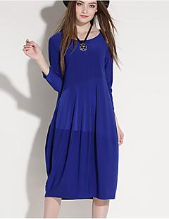 Χαμηλού Κόστους JIANRUYI-Γυναικεία Αργίες Βίντατζ / Καθημερινό Φανάρι μανίκι Φαρδιά Φόρεμα - Μονόχρωμο Ως το Γόνατο