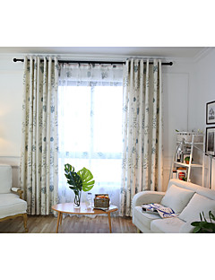billige Gardiner-gardiner gardiner Soverom Blomsternål i krystall Lin / Bomull Blanding Trykk