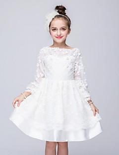 hesapli -Balo Abiyesi Taşlı Yaka Diz Boyu Organze Aplik Kristal Detaylar Dantel ile Çiçekçi Kız Elbisesi tarafından YDN