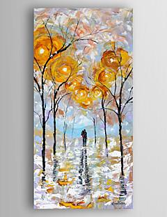 baratos Paisagens Abstratas-Pintados à mão Abstrato Paisagens Abstratas Vertical,Moderno 1 Painel Tela Pintura a Óleo For Decoração para casa
