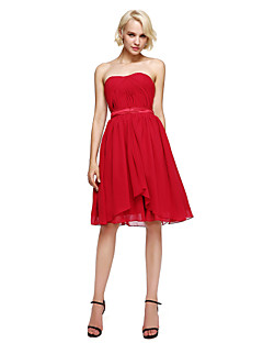 cheap Short Bridesmaid Dresses-A-Line Strapless Knee Length Chiffon Bridesmaid Dress with Sash / Ribbon Side Draping by LAN TING BRIDE®