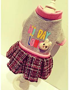 billiga Hundkläder-Hund Kappor Tröja Klänningar Hundkläder Brittisk Beige Grå Cotton Nylon Rayon/Polyester Kostym För husdjur Dam Gulligt Ledigt/vardag Sport