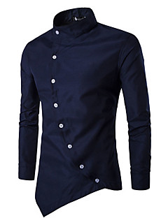 Men's Daily Casual Chinoiserie Spring Fall Shirt,Solid Stand Long Sleeves Cotton