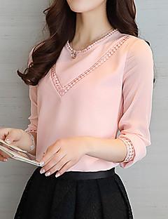 baratos -Feminino Blusa Para Noite Trabalho Simples Fofo Primavera Verão,Sólido Rosa Branco Poliéster Decote Redondo Manga Longa Fina
