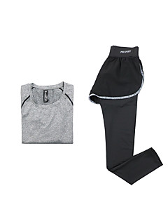 女性用 ランニングTシャツ(パンツ付き) 長袖 速乾性 高通気性 Tシャツ 洋服セット のために ヨガ エクササイズ&フィットネス ランニング モーダル ポリエステル タイト グレー パープル フクシャ ライトグリーン S M L XL