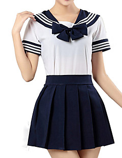 cheap Men's & Women's Halloween Costumes-Inspired by Sailor Moon Cosplay Anime Cosplay Costumes Cosplay Suits Striped Short Sleeves Shirt Skirt For Men's Women's