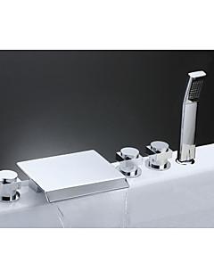 コンテンポラリー アンティーク アールデコ調/レトロ風 組み合わせ式 滝状吐水タイプ セラミックバルブ 3つのハンドル5つの穴 クロム , 浴槽用水栓