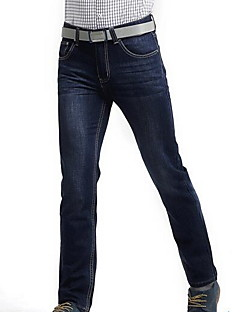 billige Herrebukser og -shorts-Herre Store størrelser Fritid Uelastisk Rett Jeans Bukser, Mellomhøyt liv Polyester Ensfarget Vår Alle årstider