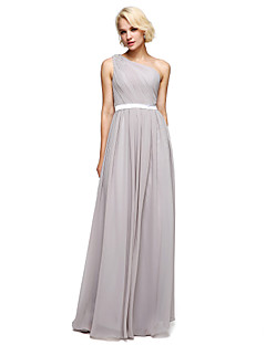 A Line One Shoulder Floor Length Chiffon Charmeuse Bridesmaid Dress With Beading Sash Ribbon Side D By Lan Ting Bride