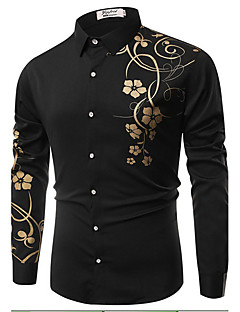 Men's Daily Casual Spring Fall Shirt,Floral Classic Collar Long Sleeves Cotton