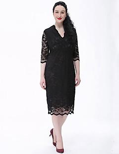 Dame Plus Size Vintage Dantelă Rochie-Mată ½ Lungime Manșon În V Lungime Genunchi Bej Negru Poliester Primăvară Vară Talie Medie