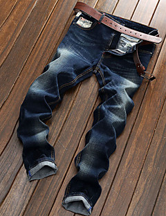 Men's Mid Rise Micro-elastic Straight Jeans Pants,Casual Solid Cotton Spring Fall All Seasons