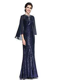 cheap Mother of the Bride Dresses-Mermaid / Trumpet Jewel Neck Floor Length Chiffon Sequined Mother of the Bride Dress with Sequin by LAN TING BRIDE®